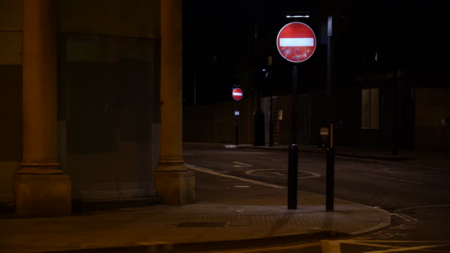 No Entry Sign On The Street At Night