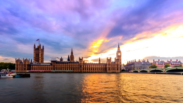 No flicker & smooth transition BigBen from day to night, London video