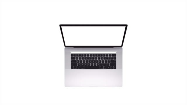 No Name Unbranded Laptop Top Down Shot, Blank White Screen, Isolated Shot video