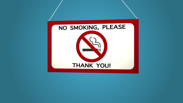 No smoking sign on white background Blue background. video