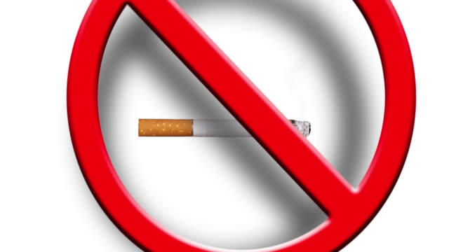 No smoking sign with a real cigarette smoke and a 3d red sign falling on top