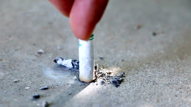 no tobacco closeup of female hand holding broken cigarette on palm, smoking is bad for your health, quit smoking concept, the footage uses, selective focus - sigaretta video stock e b–roll