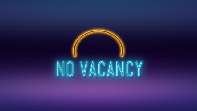 No Vacancy Title Written on Neon Light Against Purple and Blue Background in 4K Resolution