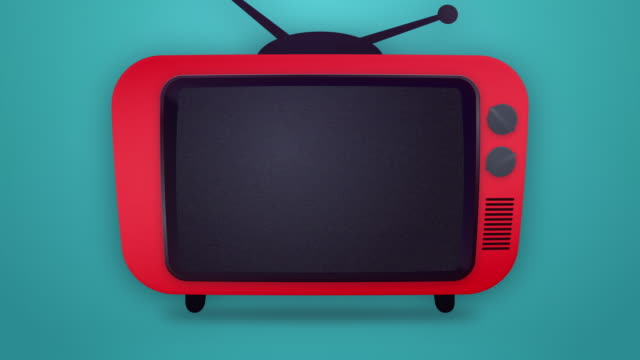 noise on the retro television - pop art video stock e b–roll