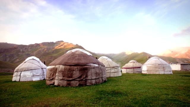 Nomadic Asian Yurt Camp Timelapse of Yurt Camp at sunset, typical housing of Northern and Central Asian nomadic peoples  minority groups stock videos & royalty-free footage