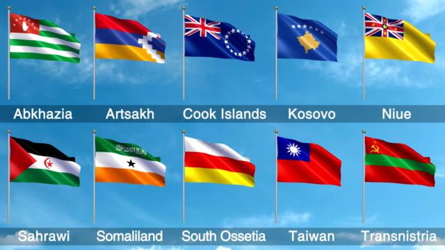 Non-UN World Flags Set + Alpha Channel (Loopable) video