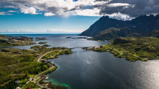 vídeos de stock e filmes b-roll de aerial nordland coastline at lofoten islands, norway - lofoten
