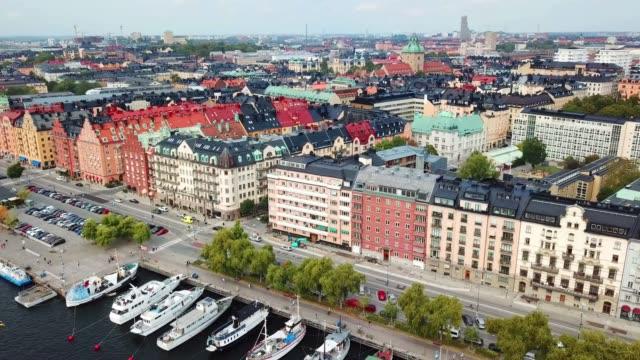 norrmalarstrand, centrala stockholm nära stadshuset, drone view - ferry lake sweden bildbanksvideor och videomaterial från bakom kulisserna