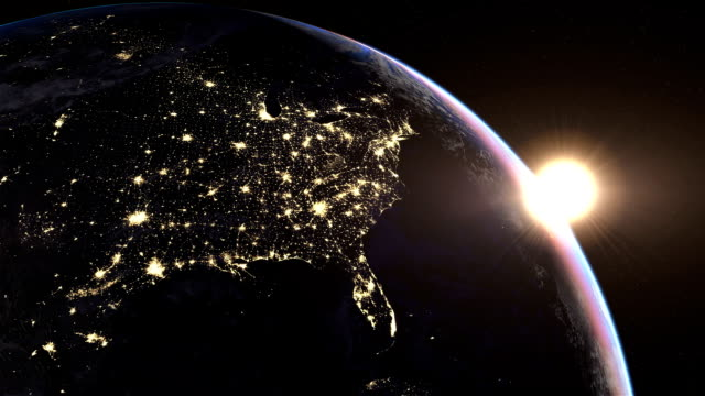 North America at night America at night. Extremely detailed image, including elements furnished by NASA. 3d animation with some light sources, reflections and post-processing.  aerial map stock videos & royalty-free footage