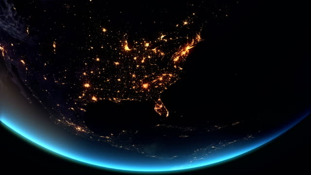 us - north america earth at night city lights 4k - world map stock videos & royalty-free footage