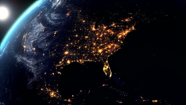 north america earth at night city lights - world map stock videos & royalty-free footage