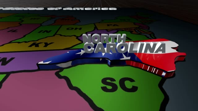 North Carolina pull out from USA states abbreviations map video