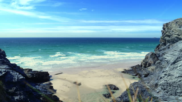 North Cornwall coast. Between Treyarnon Bay and Porthcothan. One of many beautiful bays on the North Cornish coast, South West England. Between Treyarnon and Constantine Bays and Porthcothan. cliffs stock videos & royalty-free footage