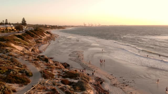 north cottesloe beach at sunset. - western australia stock videos & royalty-free footage