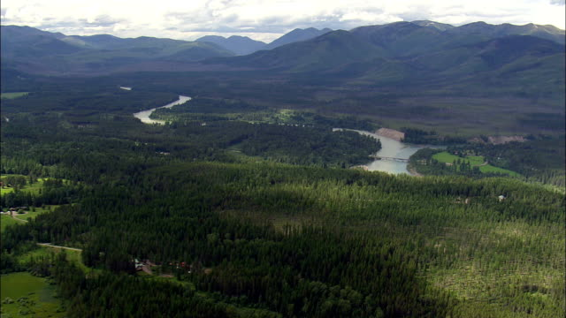 North Fork And Middle Fork Of the Flathead River  - Aerial View - Montana, Flathead County, United States video