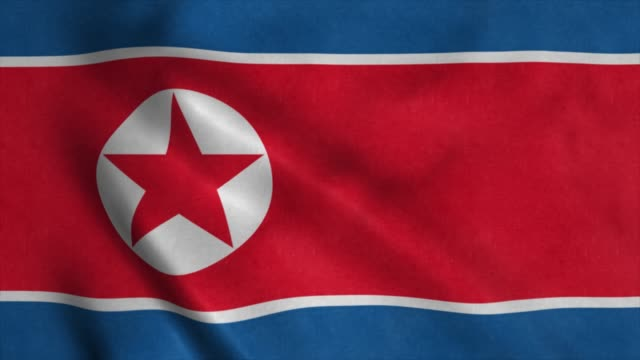 North Korea flag waving in the wind. National flag of North Korea. 4K North Korea flag waving in the wind. National flag of North Korea. 4K. korean culture stock videos & royalty-free footage