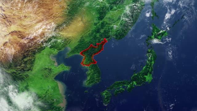 北朝鮮地図と枠線の物理地図アジア、東アジアのレリーフと山々 と太平洋の地図します。 - 気象学点の映像素材/bロール