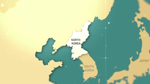 vídeos de stock, filmes e b-roll de vídeo stock de north korea on world map - coreia