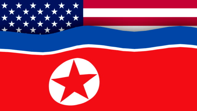 North Korean flag melts in front of American flag video