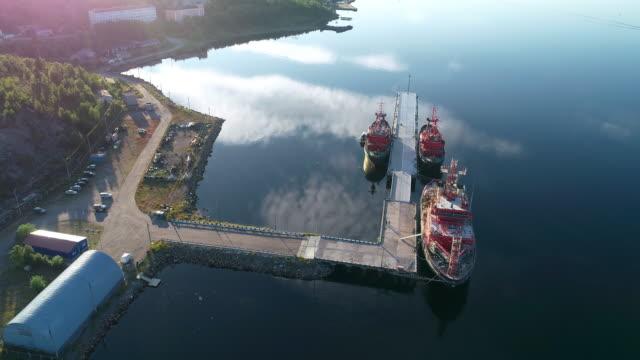 北ムルマンスク - 産業船桟橋から - 石炭点の映像素材/bロール