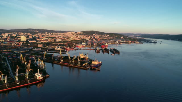 North Murmansk Ships in the bay at sunset North Murmansk Ships in the bay at sunset gdansk stock videos & royalty-free footage