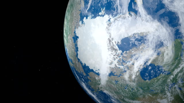 North Pole and Glacial Artic Ocean in planet Earth, aerial view from outer space video