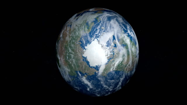 North Pole and Glacial Artic Ocean in planet Earth, view from outer space video