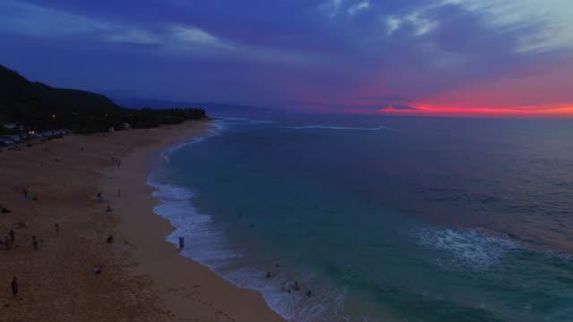 North Shore Sunset Beach Hawaii at Sunset 4K UHD video