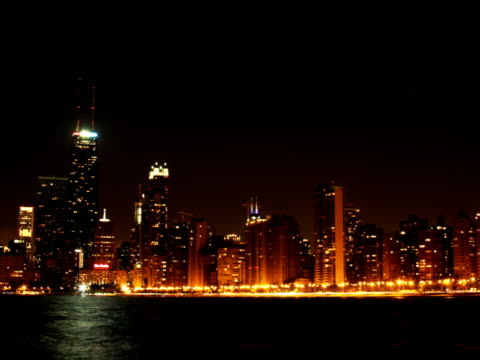 North Side Chicago Beach Night Timelapse NTSC A timelapse of north side Chicago at night from the beach. saturated color stock videos & royalty-free footage
