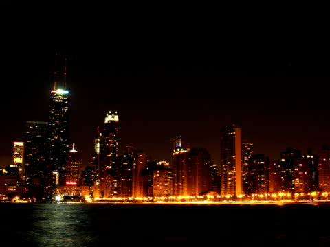 North Side Chicago Beach Night Timelapse PAL A timelapse of north side Chicago at night from the beach. saturated color stock videos & royalty-free footage