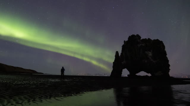 Northen Lights Over Hvitserkur video