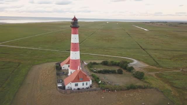Northern Friesland Westerheversand Lighthouse 4K Video Drone Flight Germany