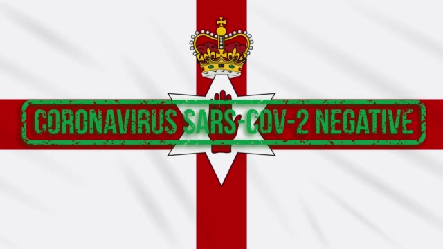 Northern Ireland swaying flag with green stamp of freedom from coronavirus, loop