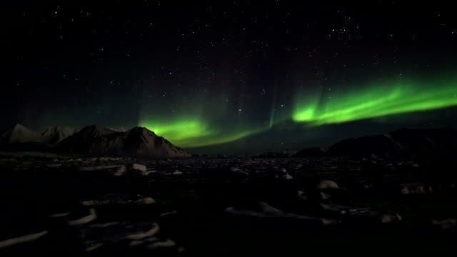 Northern Lights and the frozej fjord - Svalbard video