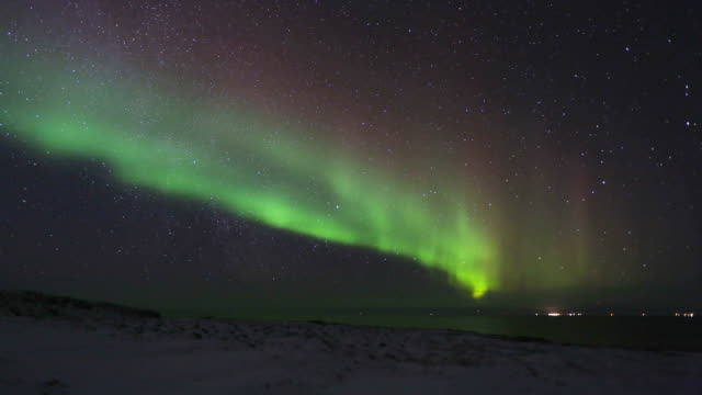 Northern Lights over glacier video