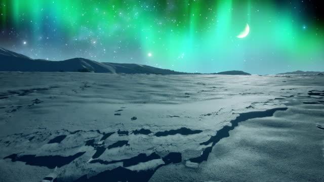 vídeos y material grabado en eventos de stock de aurora boreal sobre la llanura helada - estrella del norte