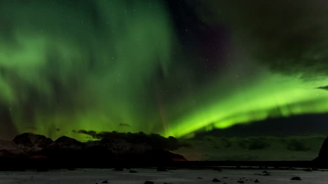 Northern Lights over the frozen Arctic fjord video
