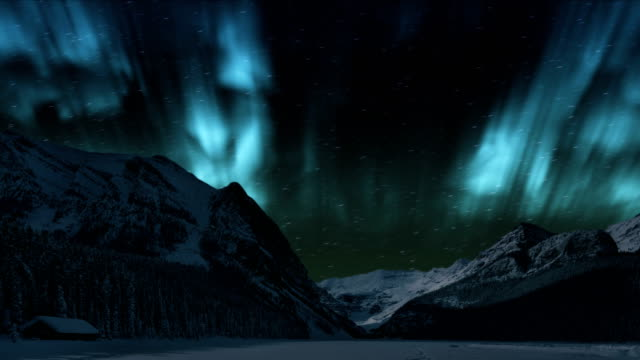 northern lights over the winter mountain - time lapse aurora borealis (northern lights) - aurora boreale video stock e b–roll