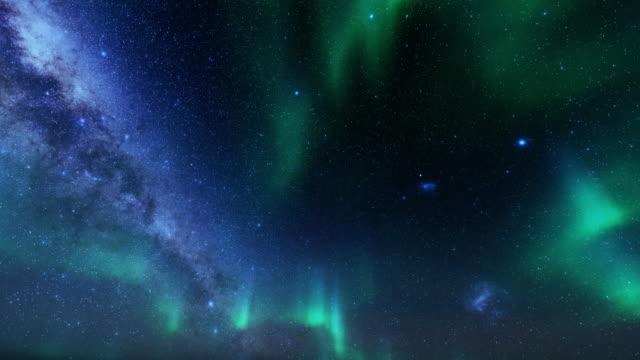 vídeos y material grabado en eventos de stock de las auroras boreales se enfrentan al cielo estrellado, 4k - estrella del norte