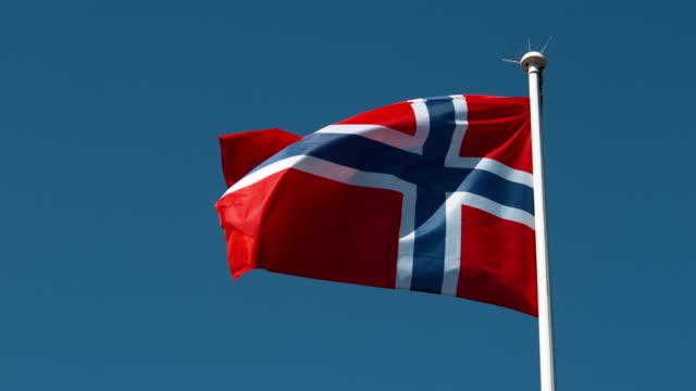 Norvegian Flag Waving in the Wind, Slow Motion 4K video
