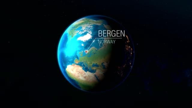 vídeos y material grabado en eventos de stock de noruega - bergen - zoom del espacio a la tierra - bergen