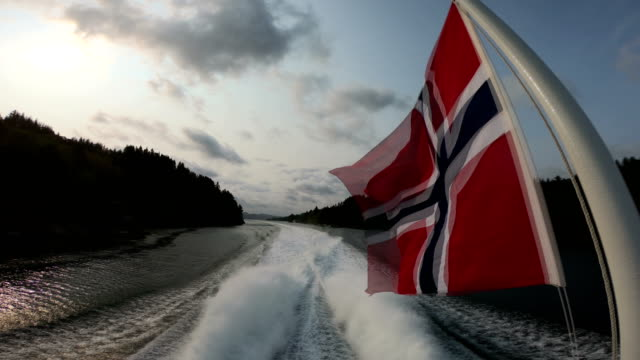 Norway flag and Sognefjord - nature and travel background - video