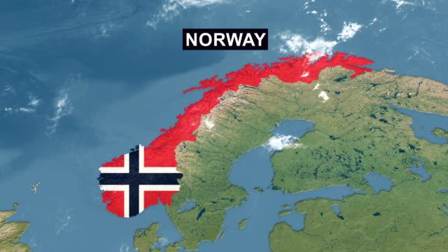 Norway Map With Norwegian Flag Zoom In To Norway Terrain Map ...
