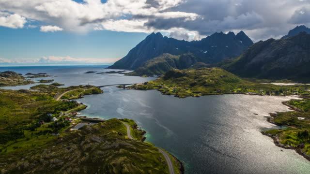 vídeos de stock e filmes b-roll de aerial: norwegian fjord landscape at the lofoten islands - lofoten