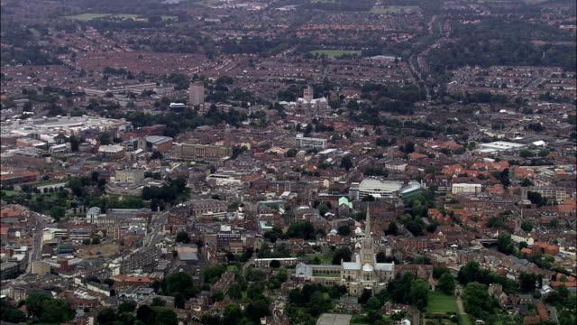 Norwich Cathedral  - Aerial View - England, Norfolk, Norwich District, United Kingdom This clip was filmed by Skyworks on HDCAM SR 4:4:4 using the Cineflex gimbal. general view stock videos & royalty-free footage
