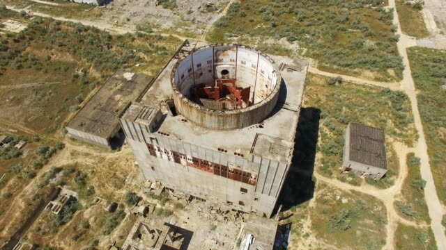 aerial: not commissioned nuclear power station - reattore nucleare video stock e b–roll