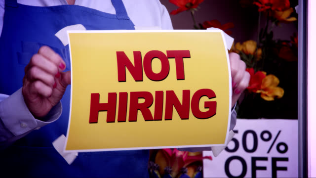 not hiring window sign - unemployment stock videos & royalty-free footage