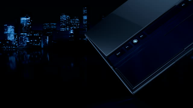 Notebook on a city background - HD