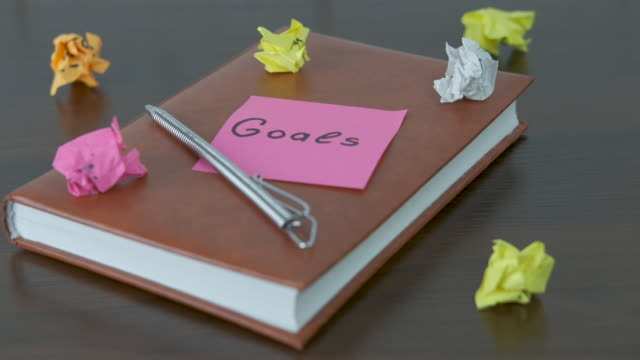 Notebook with a note with the word goals.