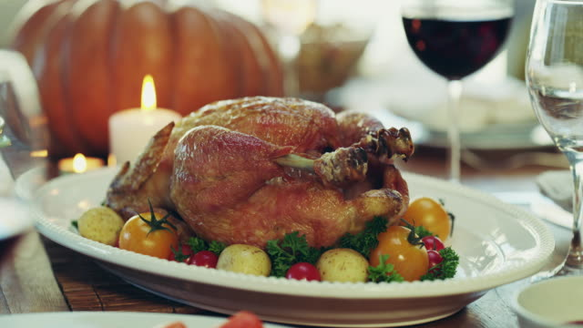 Nothing beats a good roasted chicken for dinner 4k video footage of a thanksgiving meal cooked stock videos & royalty-free footage